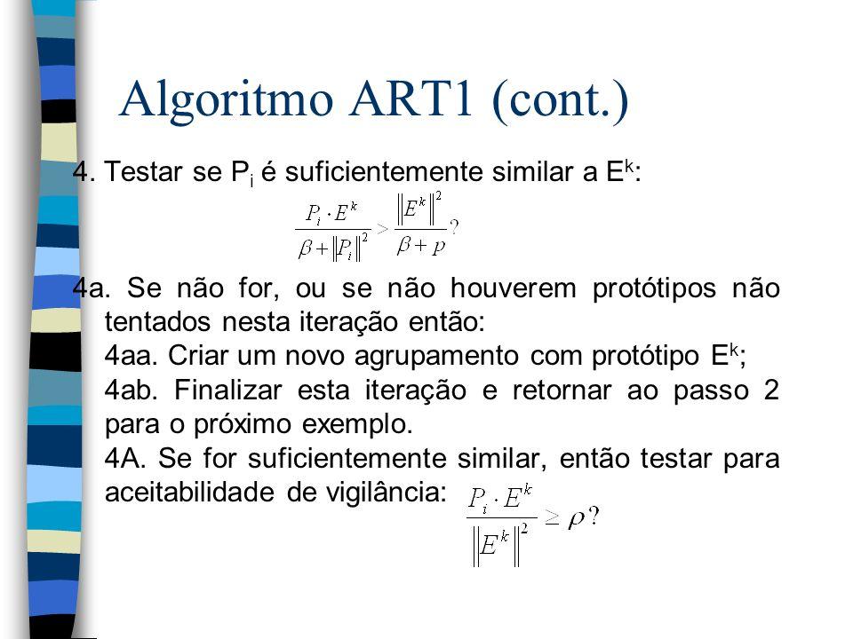 Algoritmo ART1 (cont.) 4. Testar se P i é suficientemente similar a E k : 4a. Se não for, ou se não houverem protótipos não tentados nesta iteração en