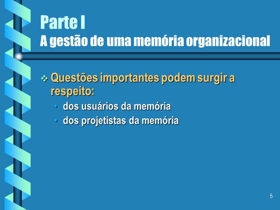 5 Parte I A gestão de uma memória organizacional Questões importantes podem surgir a respeito: Questões importantes podem surgir a respeito: dos usuários da memória dos usuários da memória dos projetistas da memória dos projetistas da memória