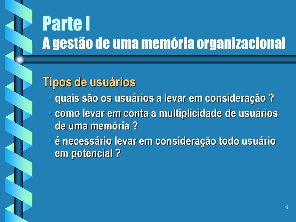 6 Parte I A gestão de uma memória organizacional Tipos de usuários quais são os usuários a levar em consideração .
