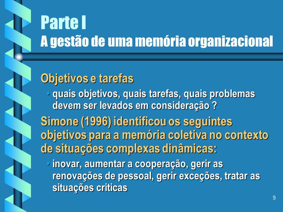 9 Parte I A gestão de uma memória organizacional Objetivos e tarefas quais objetivos, quais tarefas, quais problemas devem ser levados em consideração .