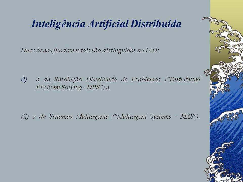 Inteligência Artificial Distribuída Duas áreas fundamentais são distinguidas na IAD: (i)a de Resolução Distribuída de Problemas (