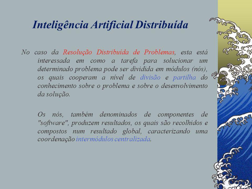 Inteligência Artificial Distribuída No caso da área dos Sistemas Multiagente, esta está interessada no comportamento individual e colectivo de unidades computacionais resolvedoras de problemas, as quais, através das suas capacidades (competências), continuamente agem/reagem modificando o ambiente que as comporta.
