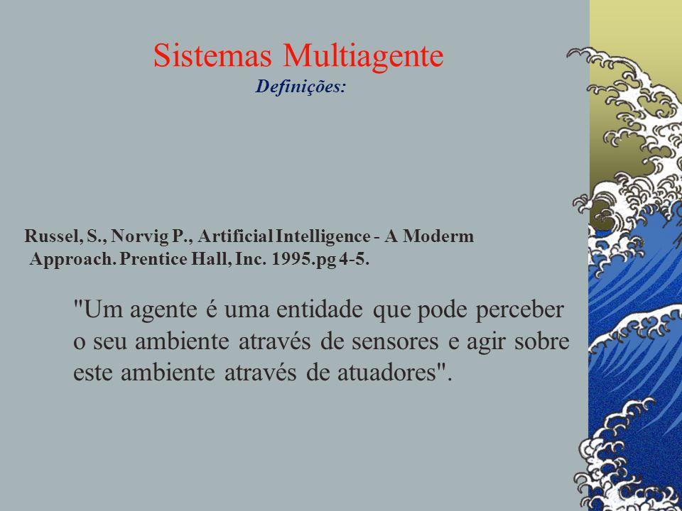 Sistemas Multiagente Definições: Russel, S., Norvig P., Artificial Intelligence - A Moderm Approach. Prentice Hall, Inc. 1995.pg 4-5.