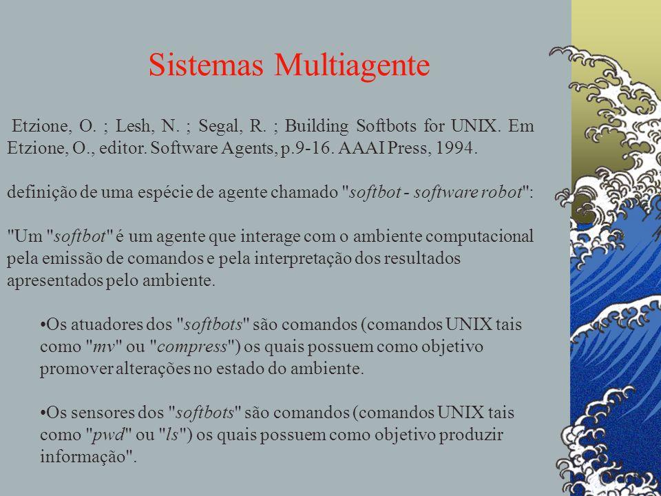 Sistemas Multiagente agentes Etzione, O. ; Lesh, N. ; Segal, R. ; Building Softbots for UNIX. Em Etzione, O., editor. Software Agents, p.9-16. AAAI Pr