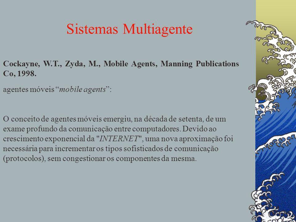 Sistemas Multiagente agentes Comunicação para redes de computadores, é o Chamado de Procedimento Remoto (Remote Procedure Calling): (i) é baseado na solicitação, de um computador à outro, para a execução de procedimentos, (ii) as mensagens entre computadores são pedidos ou confirmações das execuções de procedimentos.