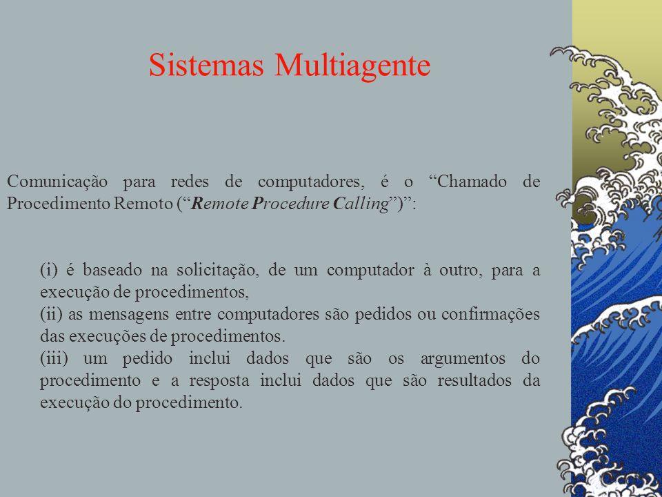 Sistemas Multiagente agentes Comunicação para redes de computadores, é o Chamado de Procedimento Remoto (Remote Procedure Calling): (i) é baseado na s
