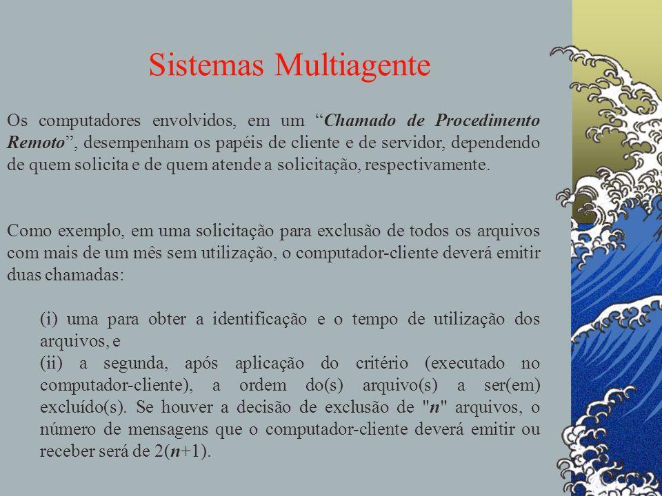 Sistemas Multiagente agentes Os computadores envolvidos, em um Chamado de Procedimento Remoto, desempenham os papéis de cliente e de servidor, depende