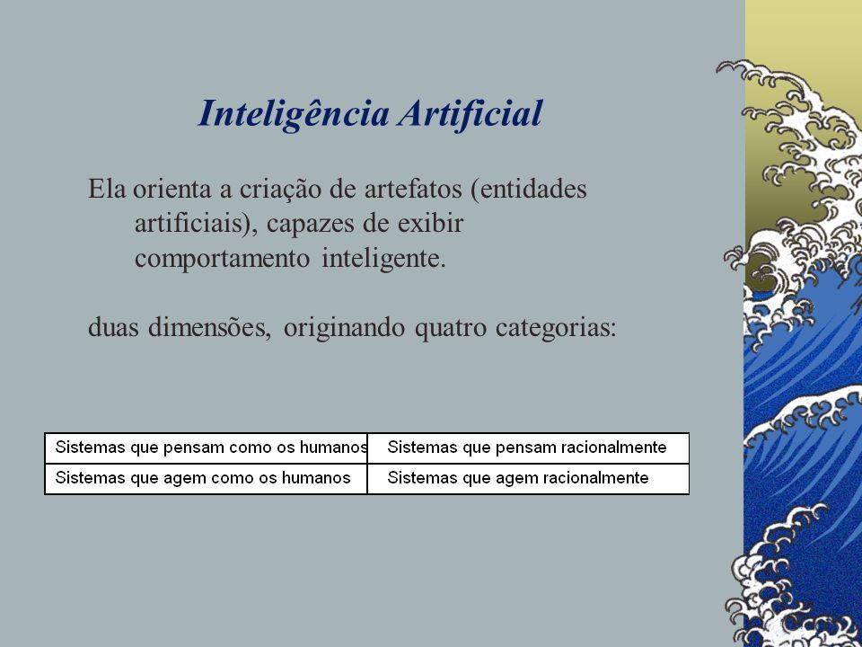 Inteligência Artificial Ainda com relação às aproximações utilizadas para a construção de sistemas artificiais que exibam características presentes em entidades ditas inteligentes, dois cursos de ação são considerados: (i)o que estuda a inteligência através das noções de pensamento e razão, com uma visão de cima para baixo, utilizando a introspecção e as experiências psicológicas como metodologias e, (ii) o que estuda a inteligência concentrando-se nos sistemas físicos, com uma visão de baixo para cima, através do conhecimento sobre o funcionamento dos sistemas biológicos.