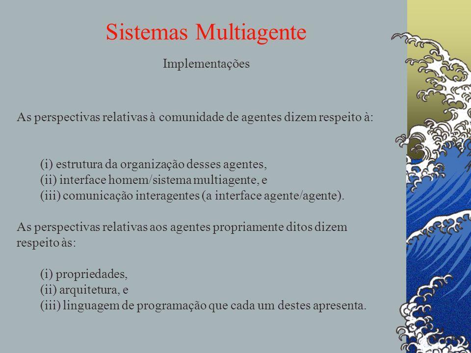 Sistemas Multiagente Implementações agentes As perspectivas relativas à comunidade de agentes dizem respeito à: (i) estrutura da organização desses ag