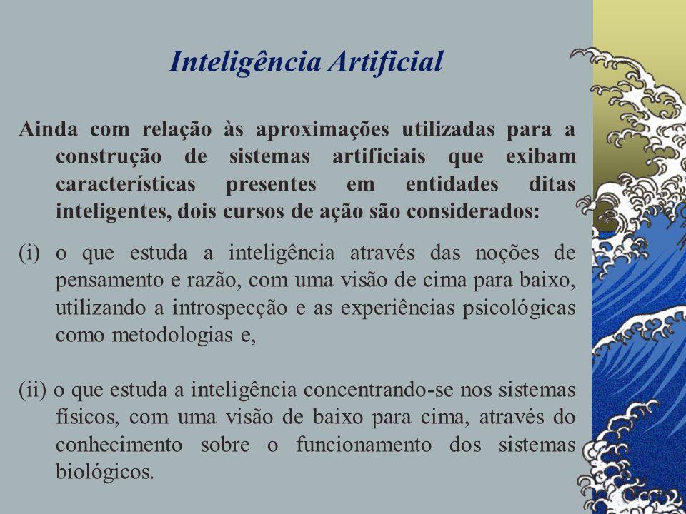 Inteligência Artificial A IA como uma área da Ciência da Computação, está interessada: em projetar sistemas computacionais inteligentes.