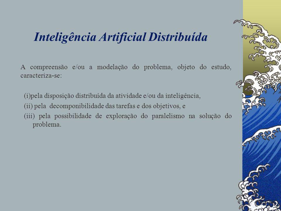 Inteligência Artificial Distribuída Duas questões básicas se colocam de forma a que os problemas do mundo real tenham uma abordagem através da IAD: 1.uma é quanto à natureza dos sistemas envolvidos no problema em estudo, 2.
