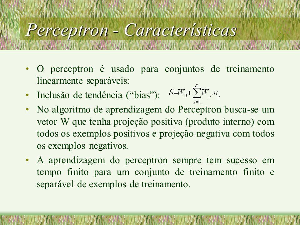 Perceptron - Características O perceptron é usado para conjuntos de treinamento linearmente separáveis: Inclusão de tendência (bias): No algoritmo de