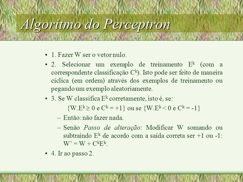 Perceptron - conclusões Para um conjunto finito de exemplos de treinamento E, com componentes inteiros (ou racionais), o algoritmo de aprendizagem do perceptron, em tempo finito: –Produzirá um vetor peso que satisfaz todos os exemplos de treinamento (se e somente se E é separável); ou –Abandonará e reutilizará um vetor peso (se e somente se E é não-separável).