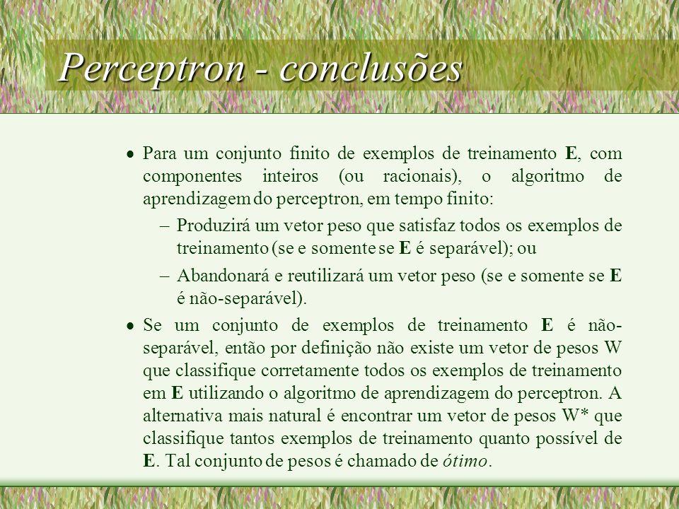 Perceptron - conclusões Para um conjunto finito de exemplos de treinamento E, com componentes inteiros (ou racionais), o algoritmo de aprendizagem do