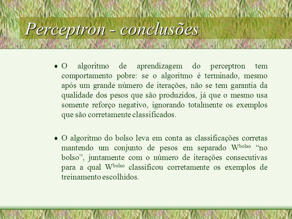 Perceptron - conclusões O algoritmo de aprendizagem do perceptron tem comportamento pobre: se o algoritmo é terminado, mesmo após um grande número de