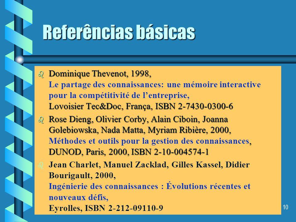 9 Referências básicas b Scheireinemakers, Jos F., 1996, Würzburg: Ergon-verl. b Scheireinemakers, Jos F., 1996, Knowledge Management Organizatioon, Co