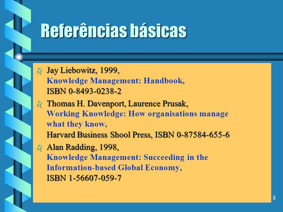 7 Referências básicas b Wiig, Karl M., 1993, Arlington, TX, Schema Press. b Wiig, Karl M., 1993, Knowledge Management Foundations: Thinking About Thin