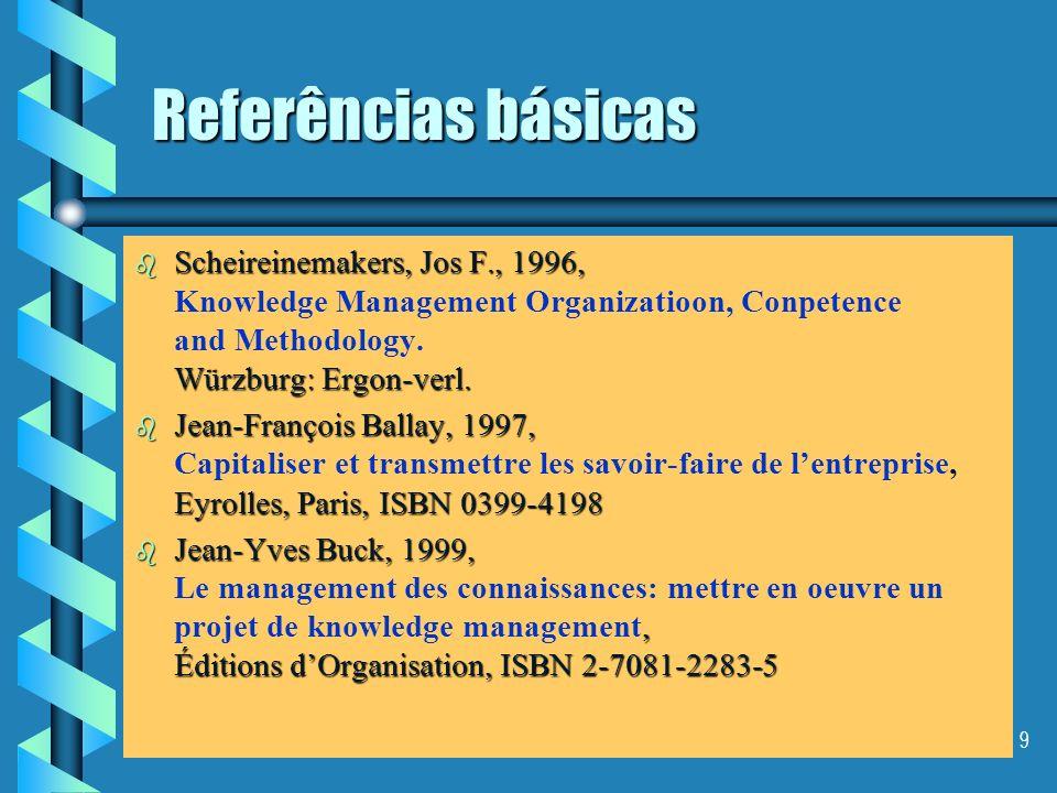 8 Referências básicas b Jay Liebowitz, 1999, ISBN 0-8493-0238-2 b Jay Liebowitz, 1999, Knowledge Management: Handbook, ISBN 0-8493-0238-2 b Thomas H.