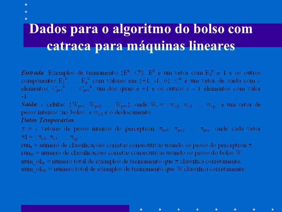 Dados para o algoritmo do bolso com catraca para máquinas lineares