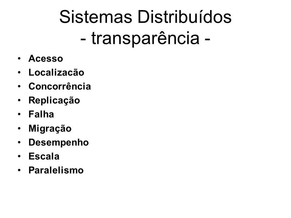 Sistemas Distribuídos - transparência - Acesso Localizacão Concorrência Replicação Falha Migração Desempenho Escala Paralelismo