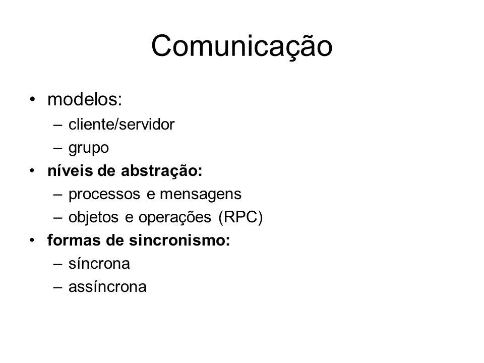 Comunicação modelos: –cliente/servidor –grupo níveis de abstração: –processos e mensagens –objetos e operações (RPC) formas de sincronismo: –síncrona