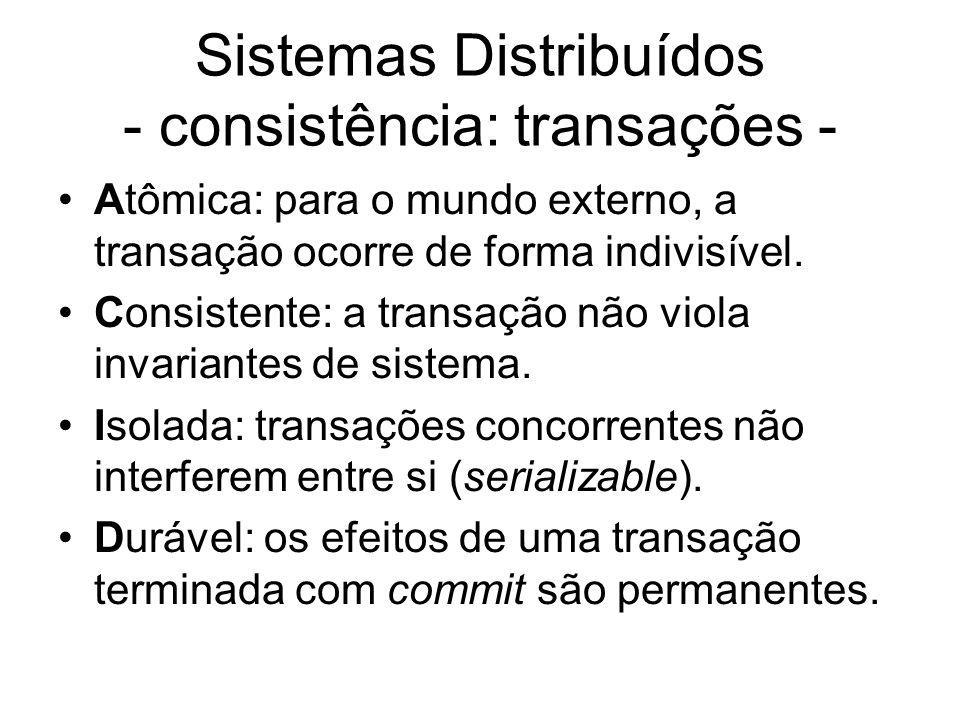 Sistemas Distribuídos - consistência: transações - Atômica: para o mundo externo, a transação ocorre de forma indivisível. Consistente: a transação nã