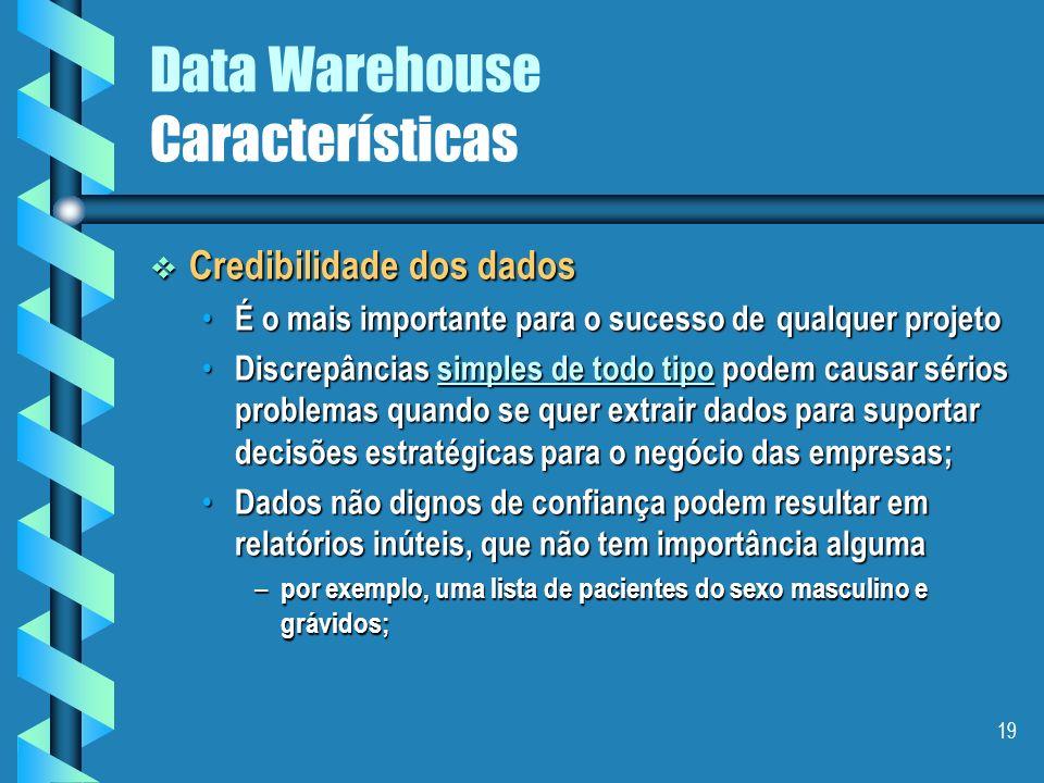 18 Data Warehouse Características Localização Dados detalhados antigos Dados detalhados atuais Dados levemente resumidos Dados altamente resumidos For