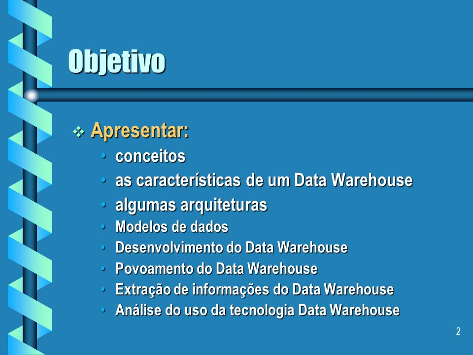 1 Data Warehouse Professor Professor Edson Emílio Scalabrin telefone: 0xx41-330-1786 e-mail: scalabrin@ppgia.pucpr.br download: http://www.ppgia.pucpr