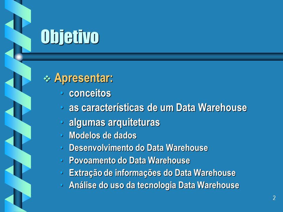 12 Data Warehouse Características Orientação por assunto Orientação por assunto Um DW sempre armazena dados importantes sobre temas específicos da empresa e conforme o interesse das pessoas que irão utilizá-lo.