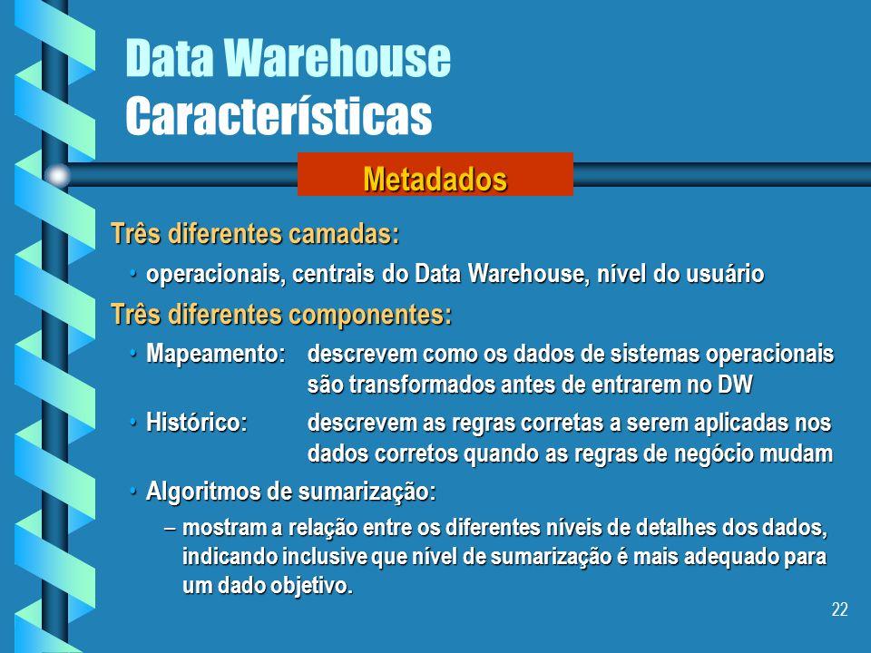 21 Data Warehouse Características Exemplo de níveis de granularidade Prod.DataQtda.Valor A113/9/0010100,00 B114/9/0015150,00 A116/9/0020200,00 A116/9/