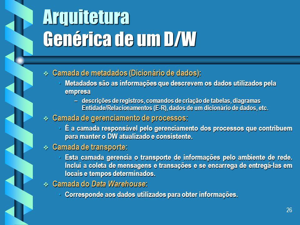25 Arquitetura Genérica de um D/W Camadas de bancos de dados operacionais e fontes externas: Camadas de bancos de dados operacionais e fontes externas