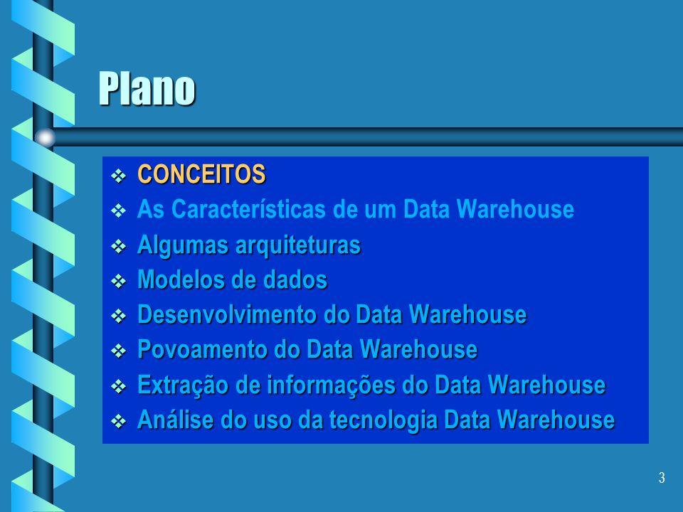 33 Arquitetura de dados Dados detalhados antigos Dados detalhados atuais Dados levemente resumidos Dados altamente resumidos Forma de armazenamento: único local (centralizado) único local (centralizado) Servidor central