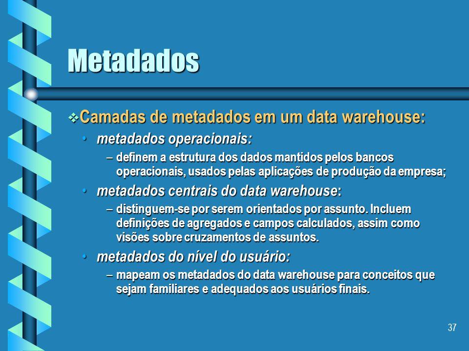 36 Metadados Definição: Definição: (a) metadados são normalmente definidos como dados sobre os dados. (a) metadados são normalmente definidos como dad