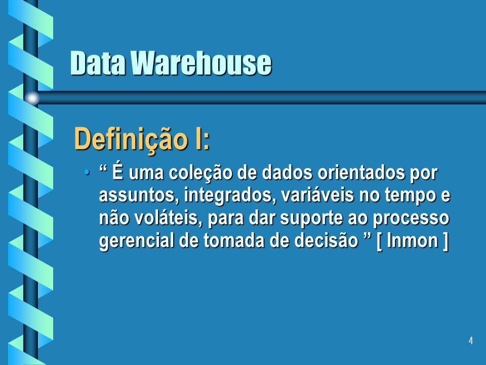 4 Data Warehouse Definição I: É uma coleção de dados orientados por assuntos, integrados, variáveis no tempo e não voláteis, para dar suporte ao processo gerencial de tomada de decisão [ Inmon ] É uma coleção de dados orientados por assuntos, integrados, variáveis no tempo e não voláteis, para dar suporte ao processo gerencial de tomada de decisão [ Inmon ]