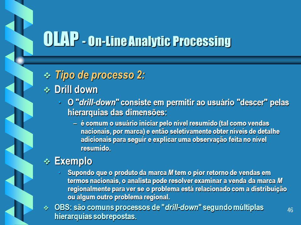 45 OLAP - On-Line Analytic Processing Tipo de processo 1: Tipo de processo 1: Slide and dice Slide and dice – Corresponde à técnica de mudar a ordem d