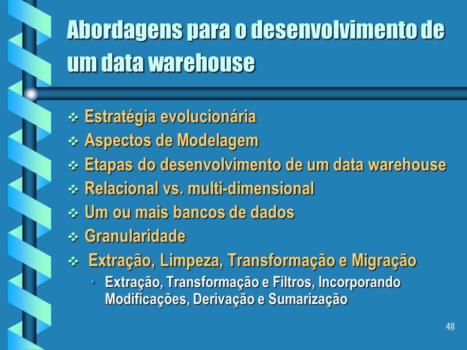 47 Plano Conceitos Conceitos As características de um Data Warehouse As características de um Data Warehouse Algumas Arquiteturas Algumas Arquiteturas
