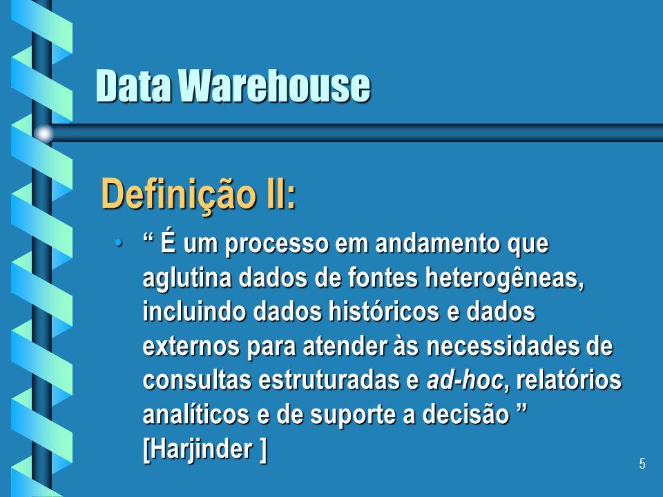 5 Data Warehouse Definição II: É um processo em andamento que aglutina dados de fontes heterogêneas, incluindo dados históricos e dados externos para atender às necessidades de consultas estruturadas e ad-hoc, relatórios analíticos e de suporte a decisão [Harjinder ] É um processo em andamento que aglutina dados de fontes heterogêneas, incluindo dados históricos e dados externos para atender às necessidades de consultas estruturadas e ad-hoc, relatórios analíticos e de suporte a decisão [Harjinder ]