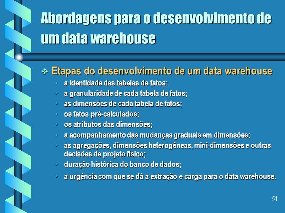 50 Abordagens para o desenvolvimento de um data warehouse Aspectos de Modelagem Aspectos de Modelagem Os requisitos para um data warehouse não podem s