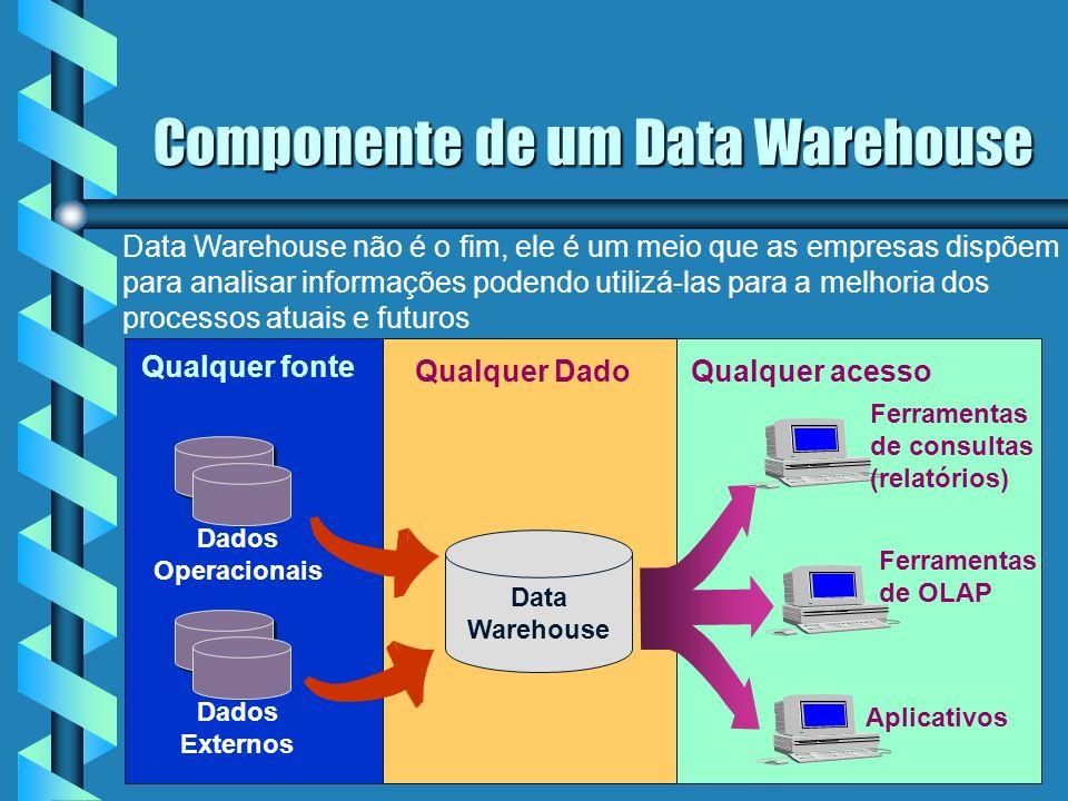 9 Componente de um Data Warehouse Dados Operacionais Dados Externos Qualquer fonte Data Warehouse Qualquer Dado Qualquer acesso Ferramentas de OLAP Aplicativos Ferramentas de consultas (relatórios) Data Warehouse não é o fim, ele é um meio que as empresas dispõem para analisar informações podendo utilizá-las para a melhoria dos processos atuais e futuros