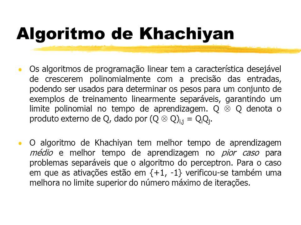 Algoritmo de Khachiyan Os algoritmos de programação linear tem a característica desejável de crescerem polinomialmente com a precisão das entradas, podendo ser usados para determinar os pesos para um conjunto de exemplos de treinamento linearmente separáveis, garantindo um limite polinomial no tempo de aprendizagem.