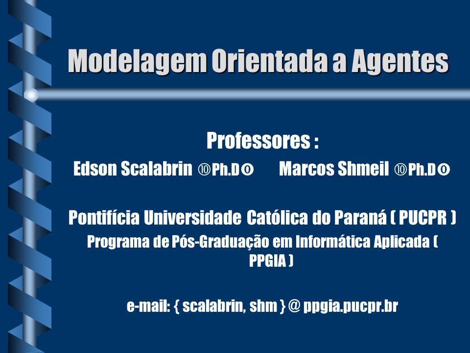Modelagem Orientada a Agentes Professores : Edson Scalabrin Ph.D Marcos Shmeil Ph.D Pontifícia Universidade Católica do Paraná ( PUCPR ) Programa de P
