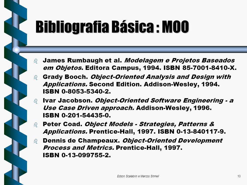 Edson Scalabrin e Marcos Shmeil13 Bibliografia Básica : MOO b James Rumbaugh et al. Modelagem e Projetos Baseados em Objetos. Editora Campus, 1994. IS