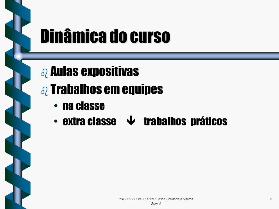 PUCPR / PPGIA / LASIN / Edson Scalabrin e Marcos Shmeil 2 Dinâmica do curso b Aulas expositivas b Trabalhos em equipes na classe extra classe trabalho