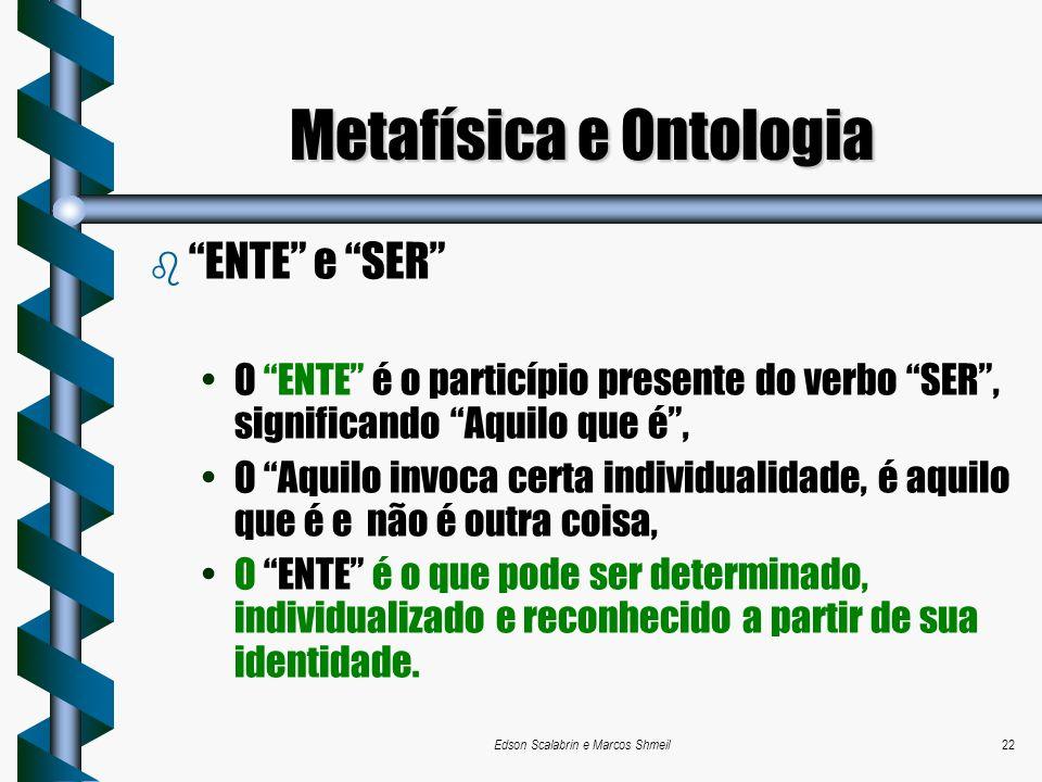 Edson Scalabrin e Marcos Shmeil22 b ENTE e SER O ENTE é o particípio presente do verbo SER, significando Aquilo que é, O Aquilo invoca certa individua