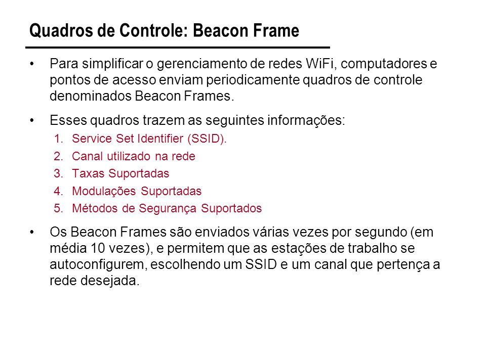Quadros de Controle: Beacon Frame Para simplificar o gerenciamento de redes WiFi, computadores e pontos de acesso enviam periodicamente quadros de controle denominados Beacon Frames.