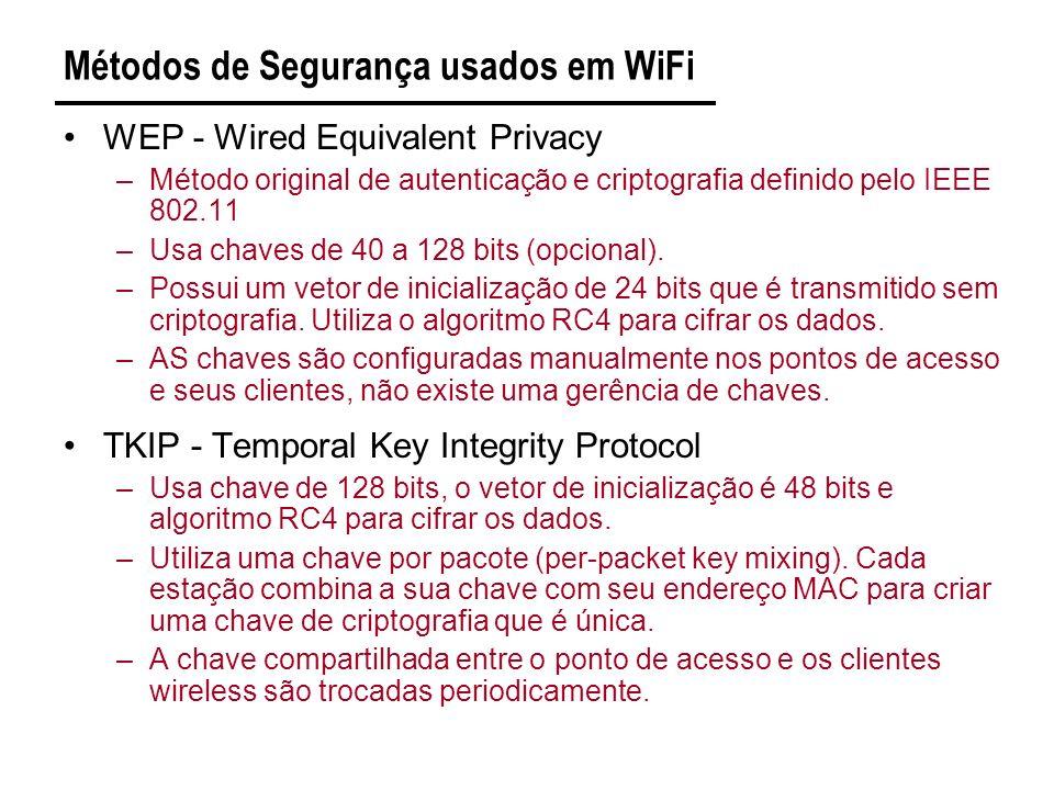 Métodos de Segurança usados em WiFi WEP - Wired Equivalent Privacy –Método original de autenticação e criptografia definido pelo IEEE 802.11 –Usa chaves de 40 a 128 bits (opcional).