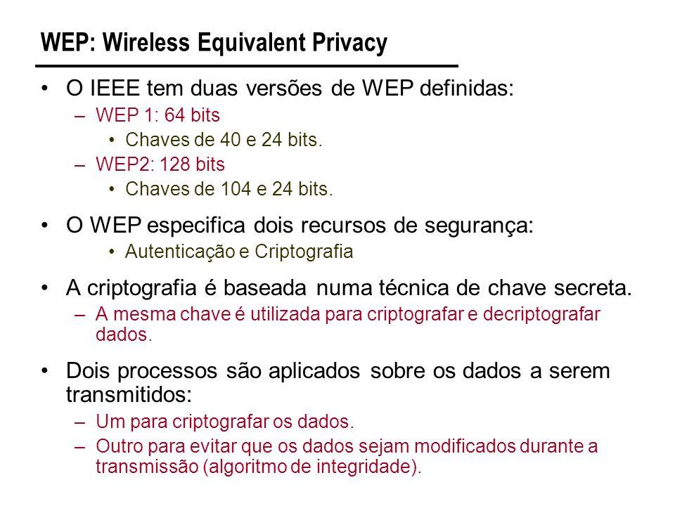 WEP: Wireless Equivalent Privacy O IEEE tem duas versões de WEP definidas: –WEP 1: 64 bits Chaves de 40 e 24 bits.