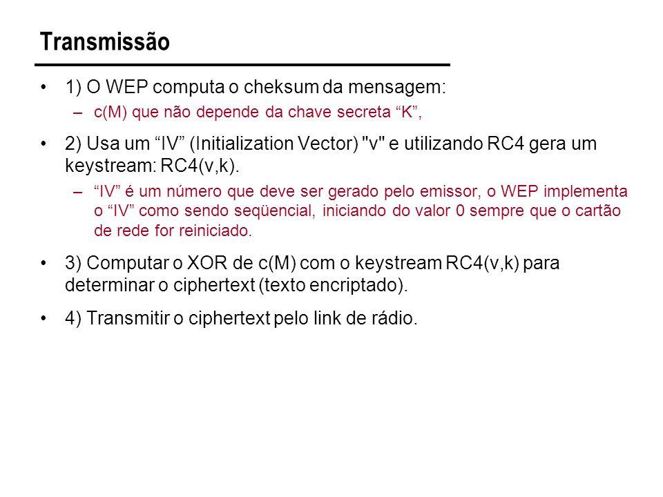 Transmissão 1) O WEP computa o cheksum da mensagem: –c(M) que não depende da chave secreta K, 2) Usa um IV (Initialization Vector) v e utilizando RC4 gera um keystream: RC4(v,k).