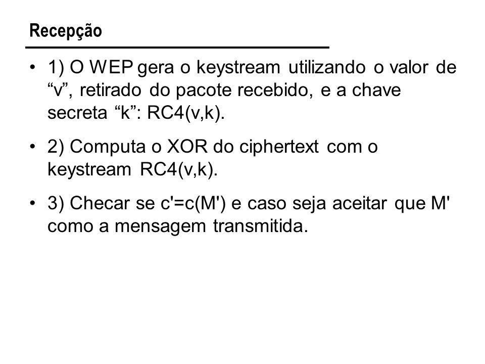 Recepção 1) O WEP gera o keystream utilizando o valor de v, retirado do pacote recebido, e a chave secreta k: RC4(v,k).
