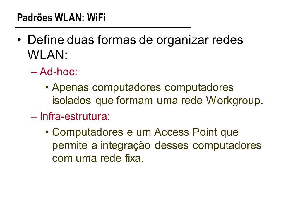 Padrões WLAN: WiFi Define duas formas de organizar redes WLAN: –Ad-hoc: Apenas computadores computadores isolados que formam uma rede Workgroup.